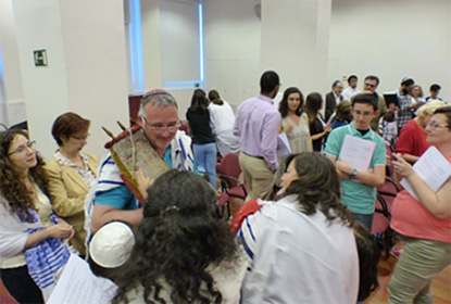 Celebrating with the Sefer Torah in Madrid.               Image courtesy of Victoria Atlas.